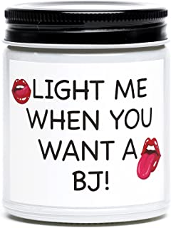 Funny Gifts for Boyfriend Husband, Light Me When You Want A BJ Candle, Naughty Birthday, Anniversary, Valentines Day Gifts...