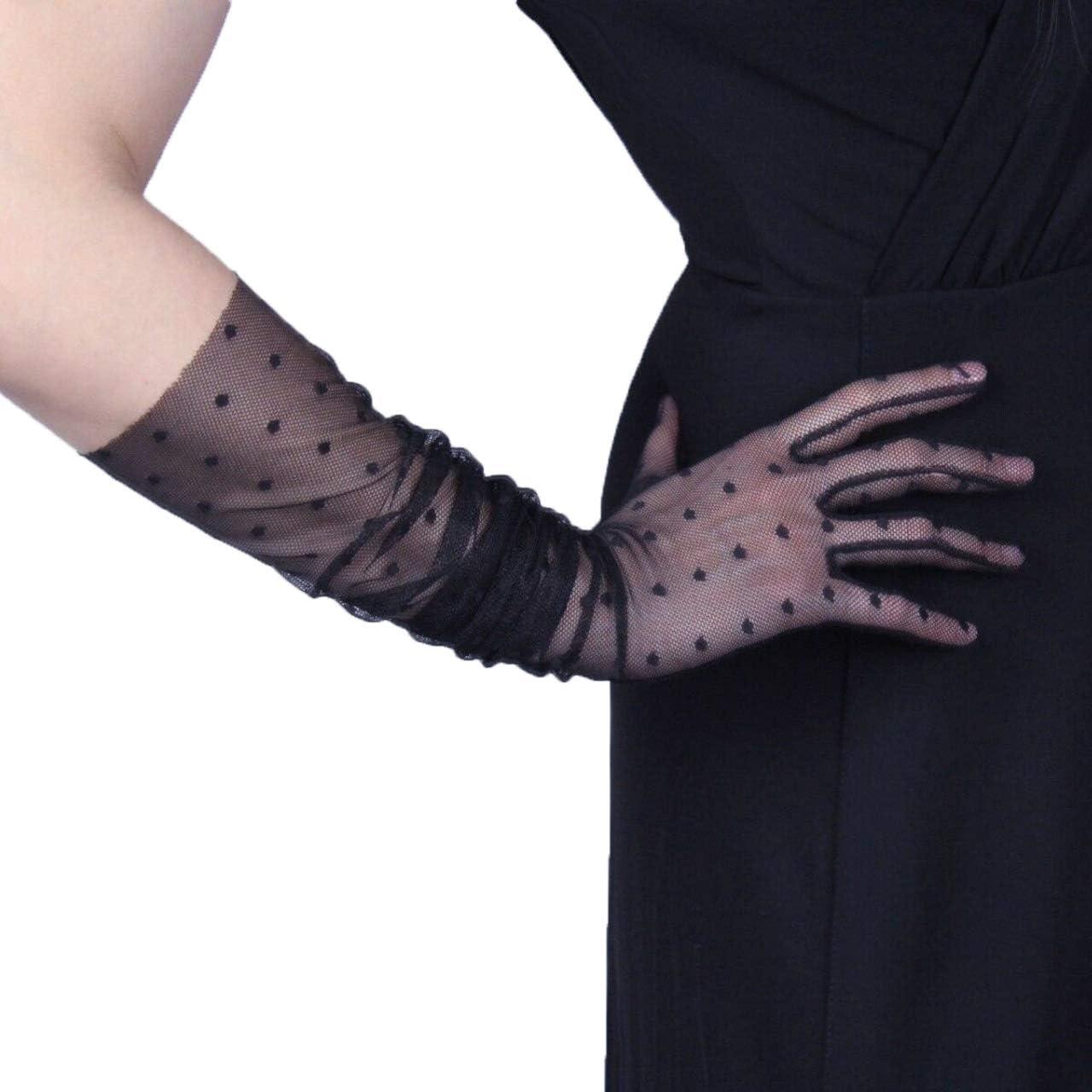 Polka Dot Lace Gloves Stretch Tulle Nylon Black Semi Sheer Short Touchscreen