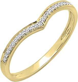 0.08 Carat (ctw) 14K Yellow Gold Round White Diamond Ladies Wedding Stackable Guard Ring (Size 7)