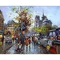 油絵 数字キットによる絵画 塗り絵 大人 手塗り Diy絵 デジタル油絵ストリートビュー-Diyフレーム 40* 50 Cm
