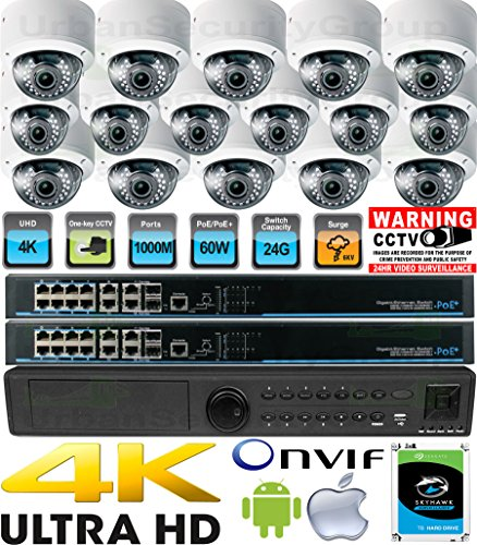 Great Price! USG Business Grade H.265 Ultra 4K UHD 8MP 16 Camera Security System : 1x Ultra 4K 16 Ch...