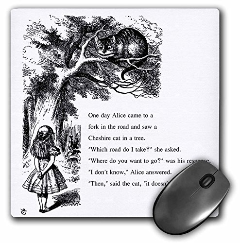 3drose Which Road Do I Take Cheshire Cat Alice in Wonderland - John Tenniel - Mouse Pad