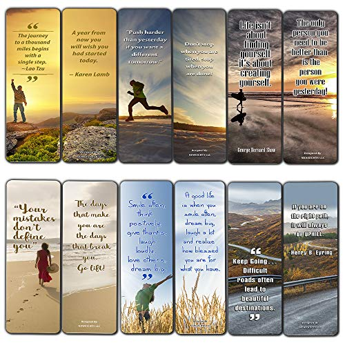 Inspirational Quotes Bookmarks Cards (12-Pack) for Inspiring and Encouraging Men and Women - Stocking Stuffers Encouragement Tool - Bible Study Church Supplies Teacher Classroom Incentive Gifts