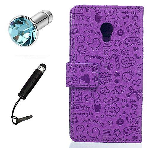 Lusee PU Kunstleder Tasche für Alcatel OneTouch Pixi 4 5.0 4G OT-5045X 5045D kunstliche Ledertasche mit silikon Hülle Taste Kleine Hexe Lila