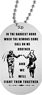 AZ Gift Plus My Brother Dog tag Necklace Pendant Naruto Fan - Happy Birthday Gifts for Friends or Brother When The Demon Comes, Call on me Brother 30 inch Chain