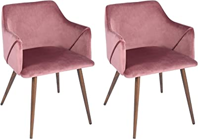 FurnitureR Juego de 2 sillas de Comedor de Terciopelo Sillas Modernas con Brazos Decorativos de Mediados de Siglo Sillas tapizadas con Patas de Metal para Sala de Estar Rosa