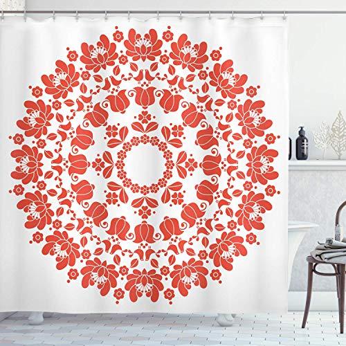 Sosun Cortina de Ducha Mandala roja, patrón de Arte Popular húngaro Redondo Tulipanes Kalocsai Tradicional Antiguo, Tela de Tela Decoración de baño con Ganchos, Blanco bermellón