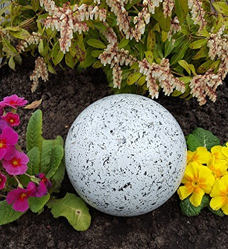 garten-wohnambiente Kugel aus Edelstahl 15 cm Dekokugel Granit weiß Dekorationskugel Edelstahlkugel