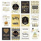 Edition Seidel Set 12 exklusive Premium Geburtstagskarten mit Umschlag. Glückwunschkarte Grusskarte Geburtstag Geburtstagskarte Mann Frau Karten Happy Birthday Billet Sprüche