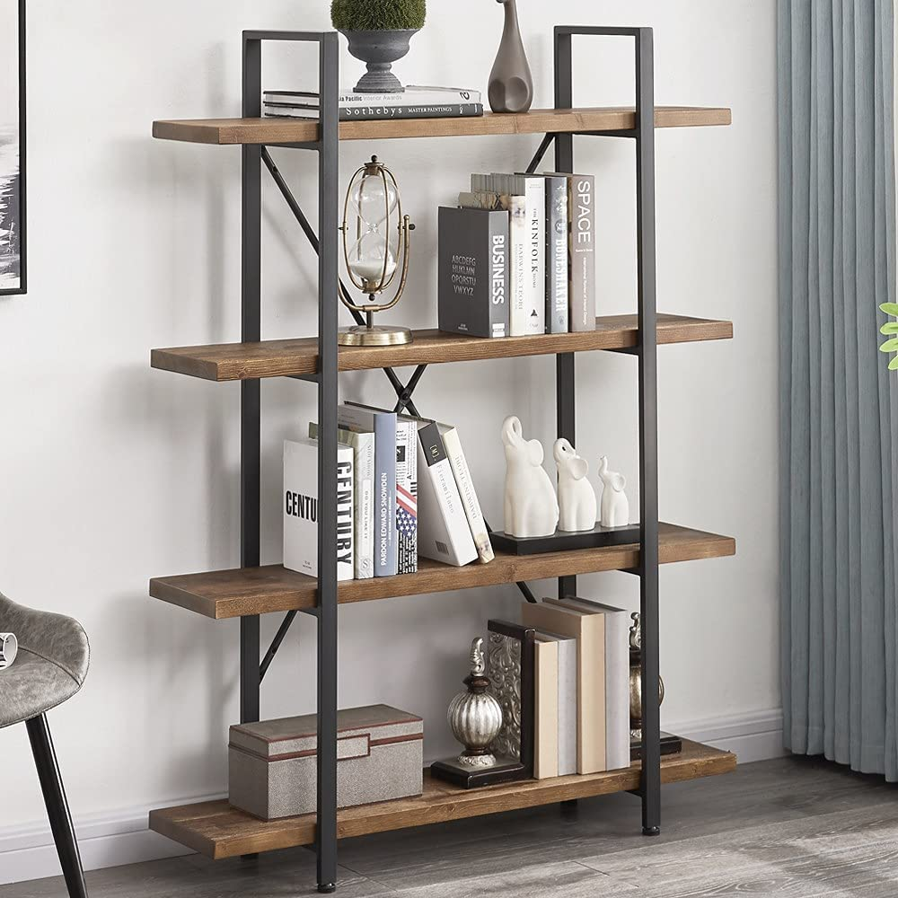 Our shop OFFers the best service Super sale period limited IBF Solid Wood 4 Tier and Bookshelf Shelf Bookcase Metal