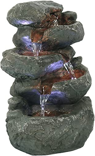 wholesale Sunnydaze Tabletop Water Fountain with LED Lights new arrival - Stacked Rocks discount Indoor Waterfall Feature - Quiet and Relaxing Water Sound - Small 10.5 Inch Desktop Size - Home Decor for Bedroom or Dining Area online sale