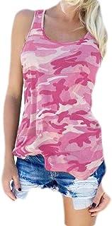 Yeirui Women Camo Summer T-Shirt Sleeveless Print Tank Top Cami Blouse Shirt