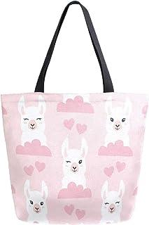 Mnsruu Mnsruu Handtasche aus Segeltuch, für Damen, mit Griff, Einkaufstasche, Umhängetasche, Llama Pink