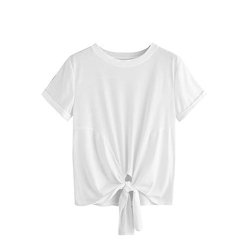 c2360820785 MAKEMECHIC Women's Summer Crop Top Solid Short Sleeve Tie Front T-Shirt Top