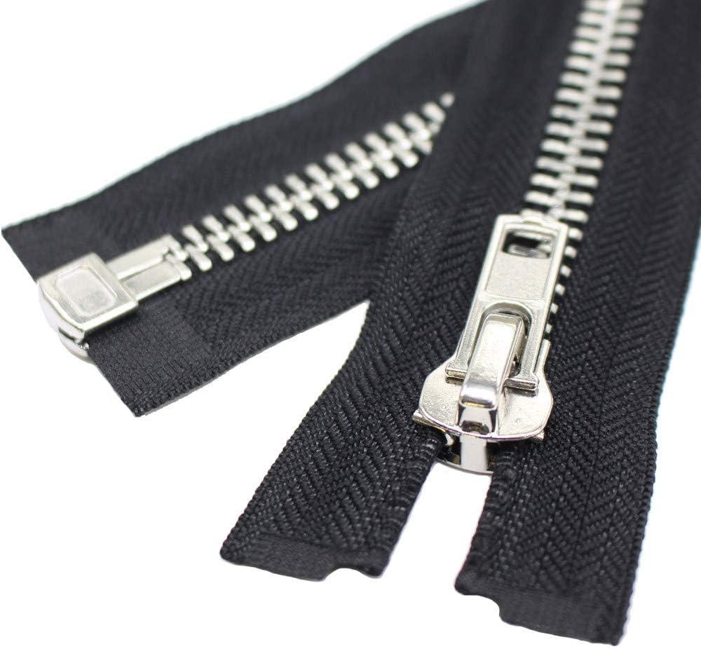 Gauge 5 Sale Wholesale Zippers Aluminum Metal Teeth Zippers 4 Inch Ivory Silver Separating Jacket Zipper