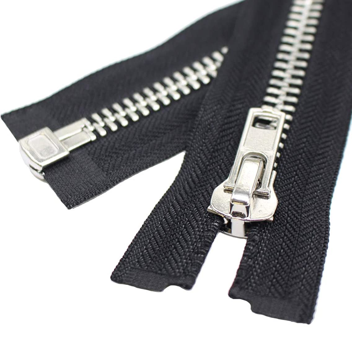 YaHoGa #10 26 Inch Silver Separating Jacket Zipper Large Metal Zipper Y-Teeth Black Heavy Duty Metal Zippers for Jackets Sewing Coats Crafts (26