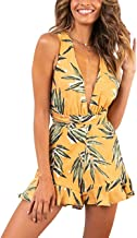 JQSTY Women's Sexy V Neck Printed Floral Leaf Romper Tropical Sleeveless Beach Short Jumpsuit Playsuit Overalls