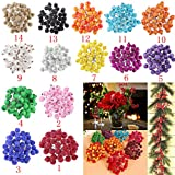 200pcs Mini Weihnachten Dekoration Künstliche Frucht Beere Holly Blumen - Rot - 5