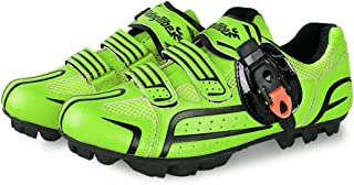 Road Bike Shoes, Microfiber Anti-Slip Cycling Shoes Unisex Breathable Wear Resistant Mountain Training Shoes,Green,42