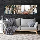 ganlanshu Ciudad Calle Paisaje Paisaje Pared Arte Torre Arte Dormitorio decoración del hogar,Pintura sin marco-40X140cm