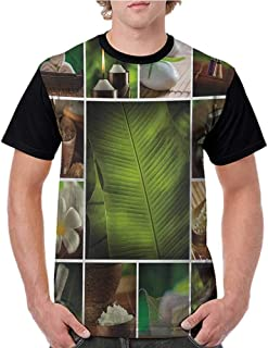 Womens Raglan Baseball T-Shirt,Spa,Collage of Candles Stones Herbal Salts Towels Botanic Plants Design Print,Green White and Brown S-XXL Printed Crew Neck Casual Tee Tops