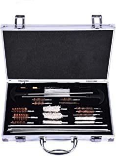 Universal Gun Cleaning Kit, Supplies for Pistol Rifle Shotgun Firearm Cleaning Kit with Travel Size Portable Metal Brushes (Silver)