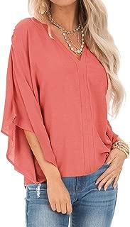 neveraway Women V-Neck Dolman Sleeve Solid Loose T-Shirt Blouses Tops