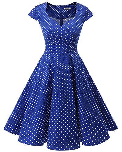 bbonlinedress 1950er Vintage Retro Cocktailkleid Rockabilly V-Ausschnitt Faltenrock Royalblue Small White Dot XL