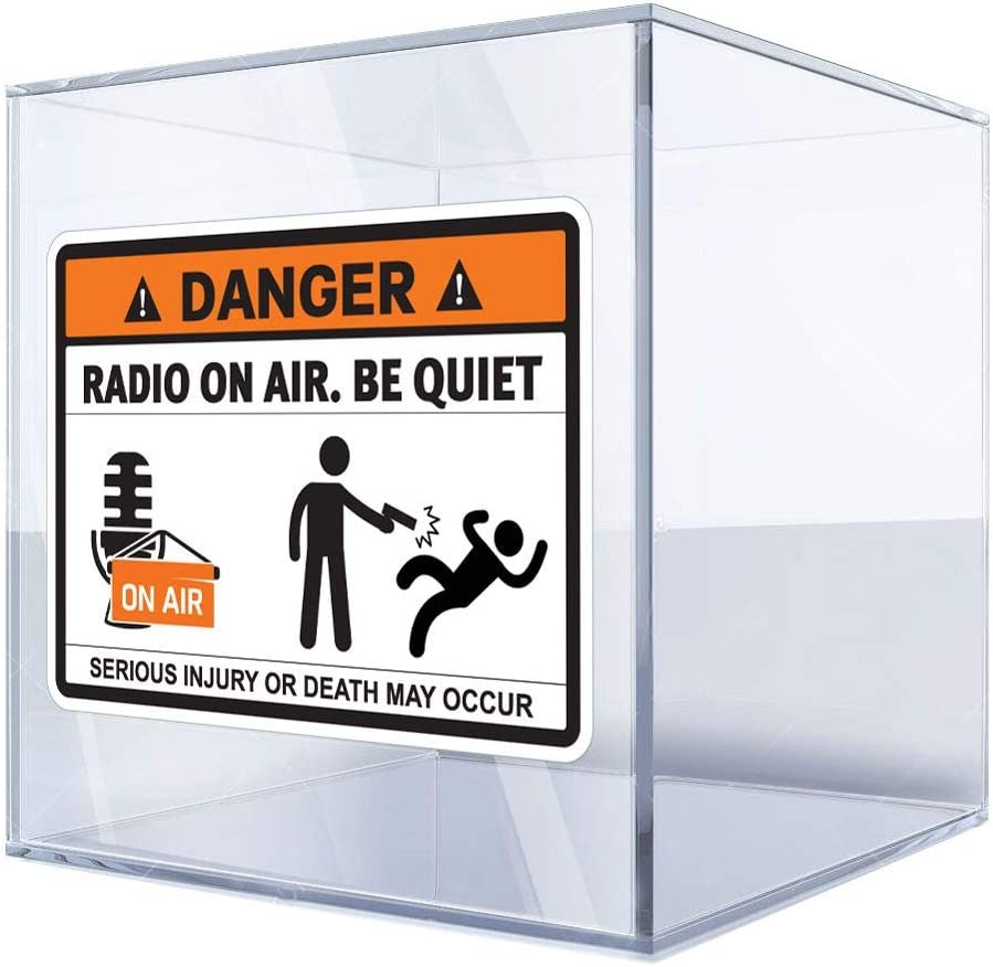 Cheap mail order shopping Sticker Decal Danger Brand Cheap Sale Venue Radio On Air. Be X Quiet Funny Sign 17 24 3