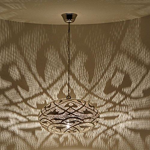 Orientalische Lampe marokkanische Hängelampe Sefrou D36 Silber aus Messing mit E14 Fassung | Kunsthandwerk aus Marokko | Prachtvolle Messinglampe für tolle Lichteffekte wie aus 1001 Nacht | EL2130