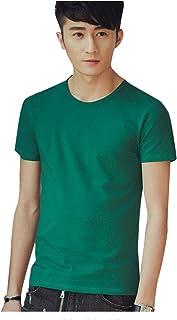 Arpcel (アープセル) メンズ ラウンド ネック プレーン シンプル 半袖 Tシャツ 白 黒 灰 薄灰 赤 黄 紺 緑 橙 薄青 濃緑 (S M L XL 2XL 3XL 4XL)