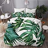 KIMDFACE Funda Edredón,Diseño clásico de Hoja de Palma de la Selva Tropical Verde del Monstruo,Ropa de Cama Funda Nórdica,1(140x200cm)+2(50x80cm)