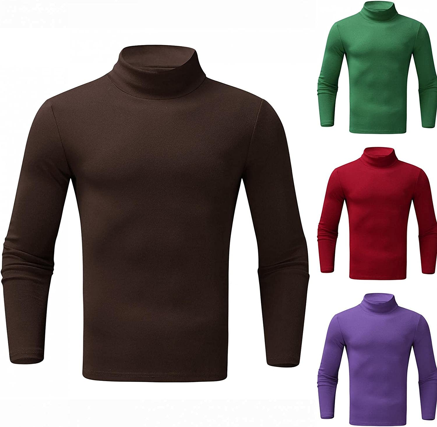 Mens Pullover Tops Solid Knitted Long Sleeeve Sweatershirts Casual Lightweight Thin Turtleneck Blouse