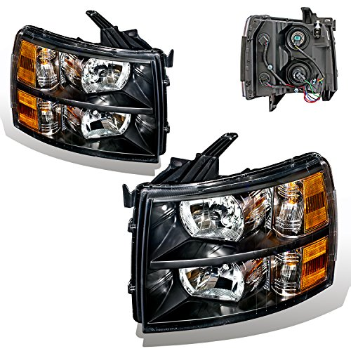 SPPC Black Headlights For Chevrolet Silverado (Pair) High/Low Beam Bulb Included Driver Left...