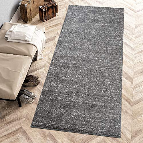 Carpeto Rugs Läufer Flur Teppich Meliert Einfarbig Muster - Küche Vorzimmer Eingangsbereich Schlafzimmer - Modern Teppichläufer Meterware 120 cm Breit - Schwarz Grau 120 x 200 cm