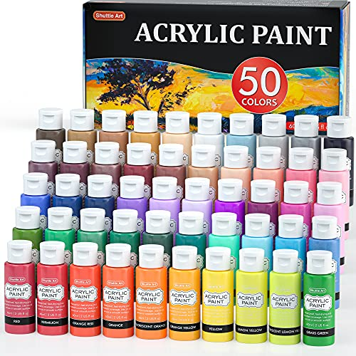 Acrylic Paint, Shuttle Art 50 Colors Acrylic Paint Set