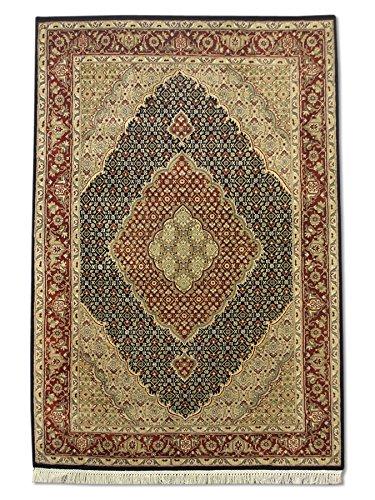 Tappeto tradizionale persiano fatto a mano Tabriz, lana/arte, seta (riflessi), nero, piccolo, 127 x 191,8 cm, 10,2 cm x 10,2 cm (ft)