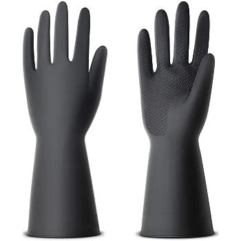 NexStar® Multipurpose Non-Slip Rubber Reusable Gardening Dishwashing Scrubbing Cleaning Gloves (Color Black, Size: 9 Inch)