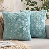 MIULEE Set of 2 Decorative Throw Pillow Covers Soft Faux Fur Pillow Cases Covers with Silver Snowflake Glitter Cute Cushions for Couch Sofa Bed Girls Room, 18 X 18 Inch, Aqua Green