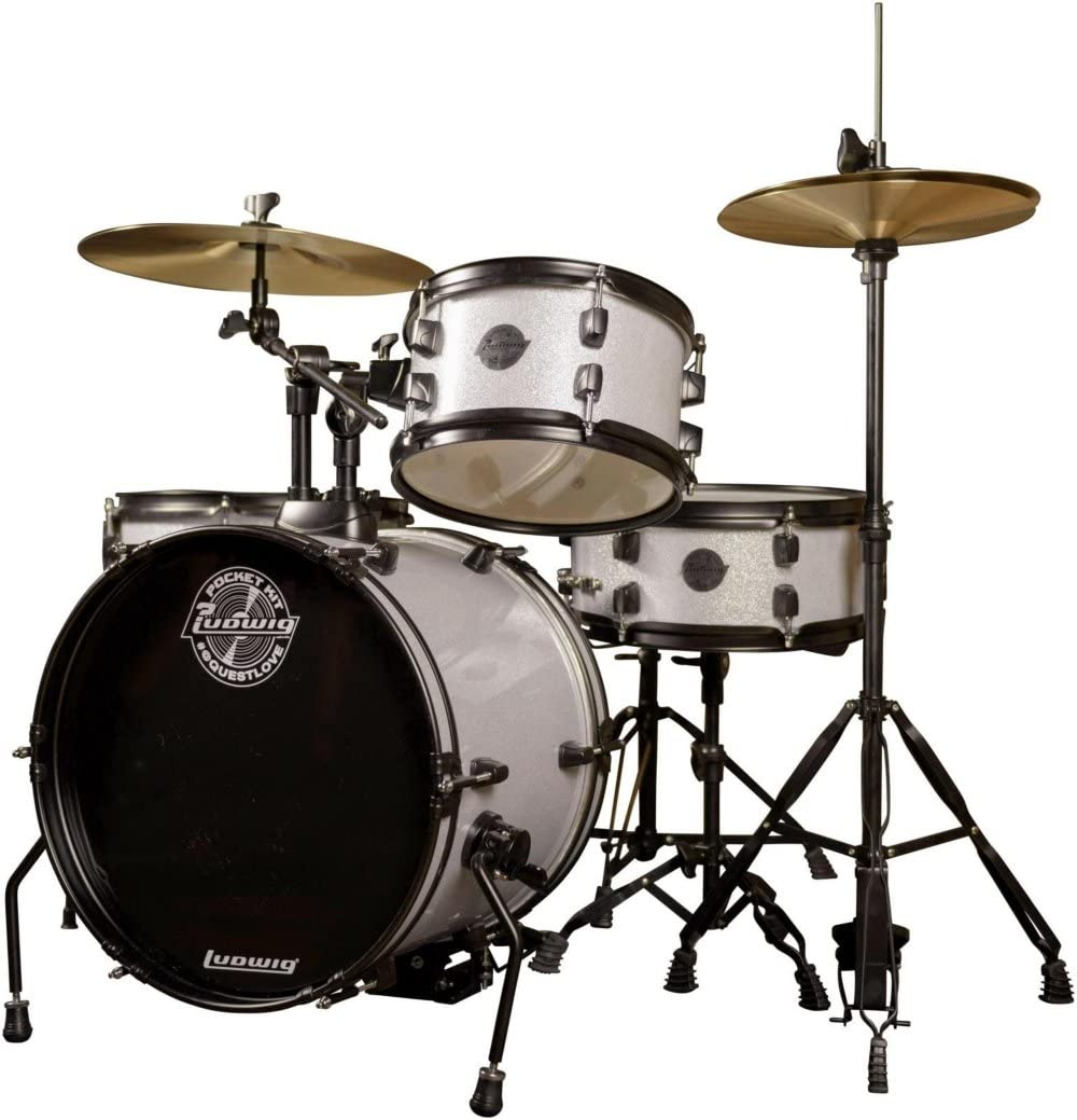 Amazon.com: Ludwig LC178X025 Questlove Pocket Kit 4-piece Drum Set-Red Wine Sparkle Finish, inch: Musical Instruments