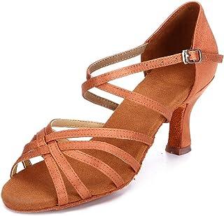 HIPPOSEUS Women's Latin Dance Shoes Ballroom Classical Party Practice Performance Sandals,Model 217