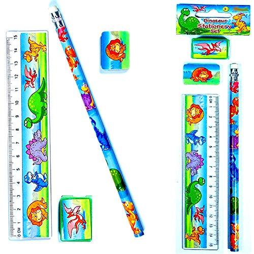German Trendseller® - 4 x Dino Schreib-Set ┃4 x Bleistift + 4 x Lineal + 4 x Radierer + 4 x Spitzer ┃Mitgebsel ┃ Dinosaurier Welt┃ Dieses Schreib Set ist ideal für Schulanfänger ✔