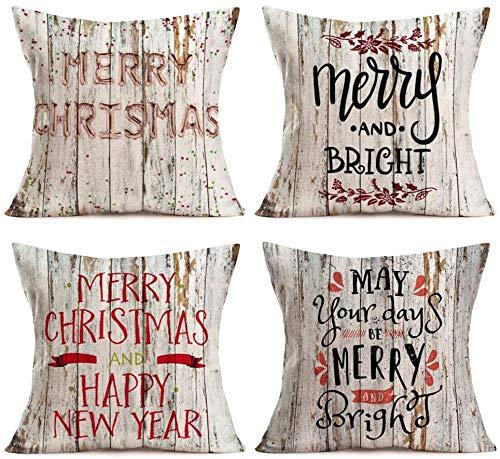 Vintage Retro Holz Hintergrund mit Frohe Weihnachten Gruß Zitat Kissenbezüge Baumwolle Leinen Winter Bauernhaus Dekor Weihnachten Frohes Neues Jahr Kissenbezug Kissenbezug 18 'x 18' 4er-Set (Weihnach