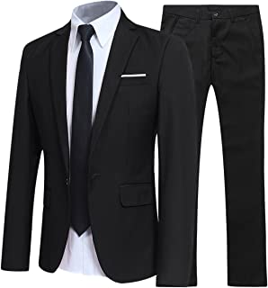 Mens Suits 2 Piece Suit Slim Fit Wedding Dinner Tuxedo Suits for Men Business Casual Jacket & Trousers 10 Colors Available