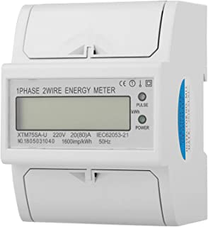 Din-Rail Electric Meter, Standard Compact Universal Lightweight 1 Phase Electric Meter, for Office Home Professional Use G...