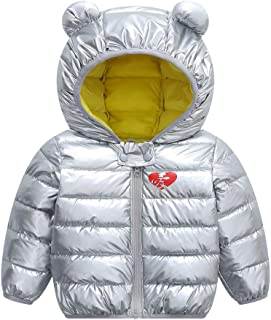 Yeeyuan Baby Shiny Quilted Jacket Winter Warm Hooded Coat Puffer Jacket Lightweight Outerwear