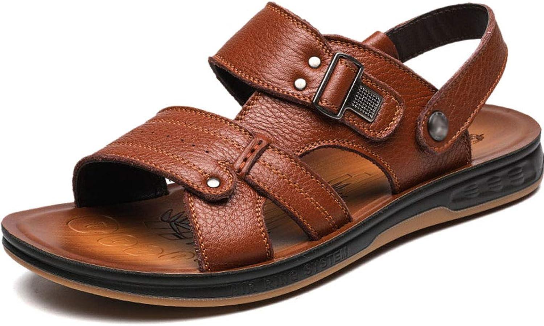 Mens Strand Slipper Sandalen ziehen auf offenen Zehenriemen weichem Leder Sport Outdoor Sandalen Sommer lssig Rindfleisch Sehne Wohnungen