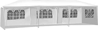 COSTWAY Partyzelt Gartenzelt Hochzeit Festzelt Pavillon Zelt Gartenpavillon Bierzelt/UV-Schutz/mit Fenster / 3x9m (weiß)