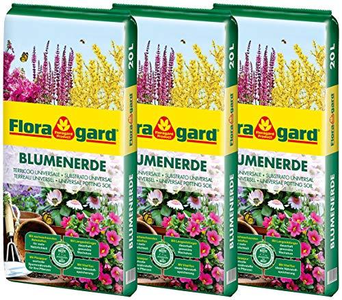 Floragard Blumenerde 3x20 L - Universalerde für Zimmer-, Balkon- und Kübelpflanzen - mit Ton und Langzeitdünger - 60 Liter