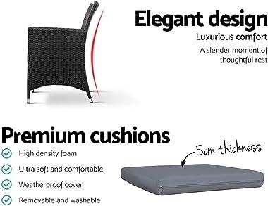 Gardeon 2X Outdoor Garden Chair Set Patio Rattan Wicker Chair with Cushion